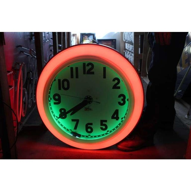 Industrial Large 1930's Cleveland Neon Clock For Sale - Image 3 of 4