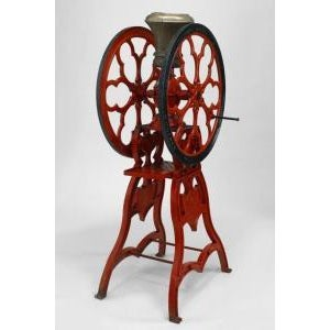 Mid 19th Century American Victorian red and black painted iron full standing coffee grinder For Sale - Image 5 of 5