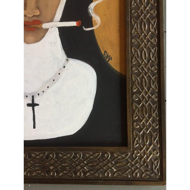 """""""Smoking Nun"""" Contemporary Folk Painting - Image 3 of 5"""