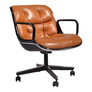 Charles Pollock Executive Desk Chair for Knoll in Cognac Leather For Sale