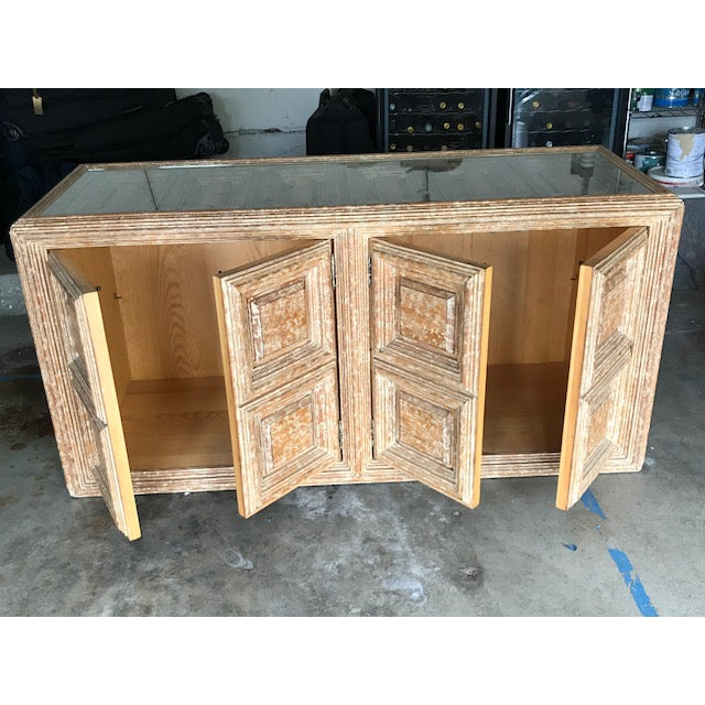 Kreiss Kreiss Distressed Wood Glass Top Credenza For Sale - Image 4 of 4
