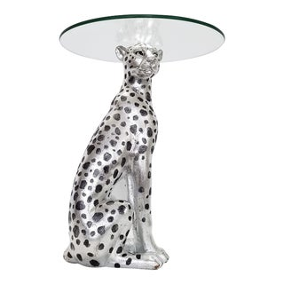 Vintage Silver and Black Cheetah Leopard Cat Side End Table With Glass Top - Chinese Feng Shui Palm Beach Boho Chic Sculpture Bling Bling For Sale