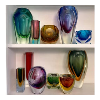 Collection of Murano Sommerso Vases, Set of 11 For Sale