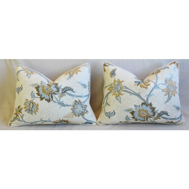 """Designer Italian Floral Linen Velvet Feather/Down Pillows 24"""" X 18"""" - Pair For Sale In Los Angeles - Image 6 of 13"""