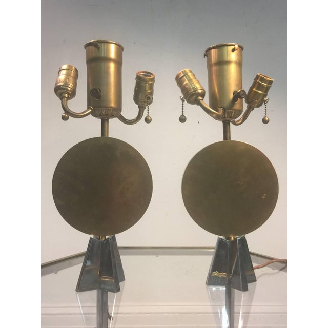 Pair of Art Deco Bronze Cubist Lamps For Sale - Image 9 of 10