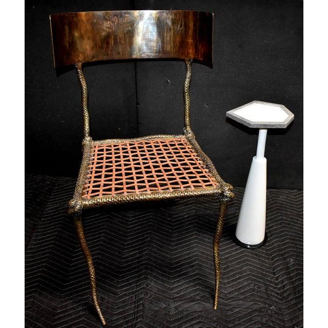 """Sculptural """"Snake"""" Design Brass Desk or Bedroom Chair For Sale - Image 4 of 9"""