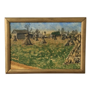 Vintage Pastoral Painting of Haystacks For Sale