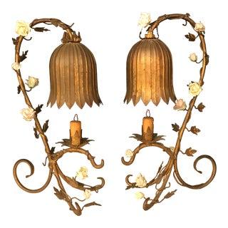 Vintage Tole & Porcelain Tulip Lamps - a Pair For Sale