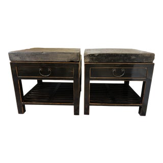 Antique Chinese Stone Top Side Tables - a Pair