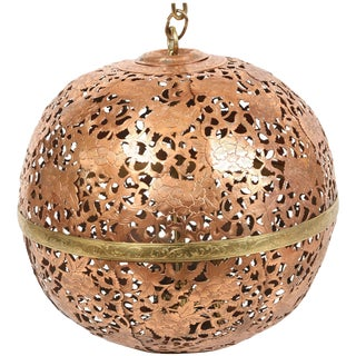 Early 20th Century Moroccan Ceiling Fixture in Pierced Copper with Brass Trim For Sale