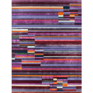 Schumacher Patterson Flynn Martin Paul Hand Tufted Wool Nylon Striped Rug For Sale