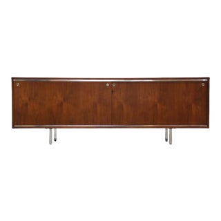 George Nelson Walnut & Chrome Credenza For Sale