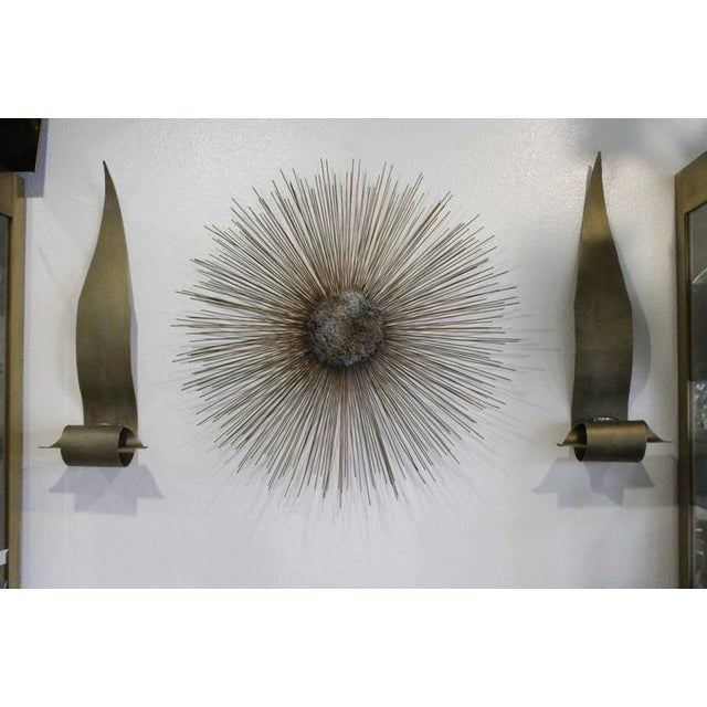 Brass Curtis Jere Vintage Brass and Bronze Brutalist Starburst Wall Hanging For Sale - Image 7 of 9