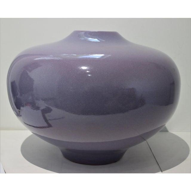 Vintage Artisan Vase Glazed Earthenware Lavender Coloration For Sale - Image 4 of 11