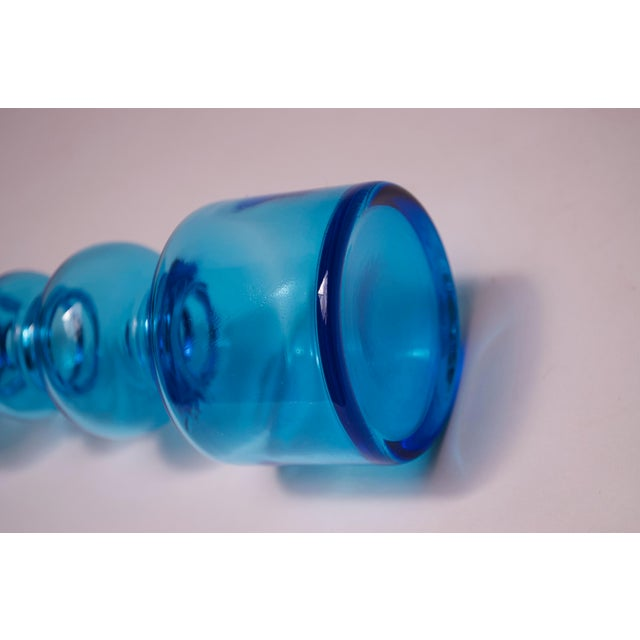 Sky Blue Scandinavian Modern Turquoise Blown Glass Hooped Vase For Sale - Image 8 of 9