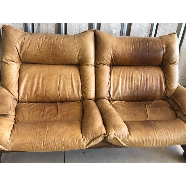 1970's Swedish Leather Loveseat For Sale - Image 4 of 10