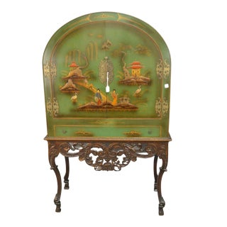 Chinoiserie Green Hardware Over Long Drawer Display Cabinet For Sale