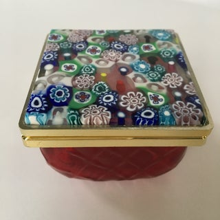 Murano Red Glass Box With Millefiori Lid Preview