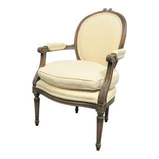 Louis XVI Style Walnut Floral Carved Arm Chair For Sale