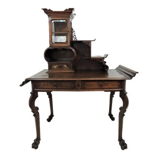 Antique French Japanese Gabriel Verdoit Style Secretaire, Desk or Console With Curio Display Cabinet For Sale