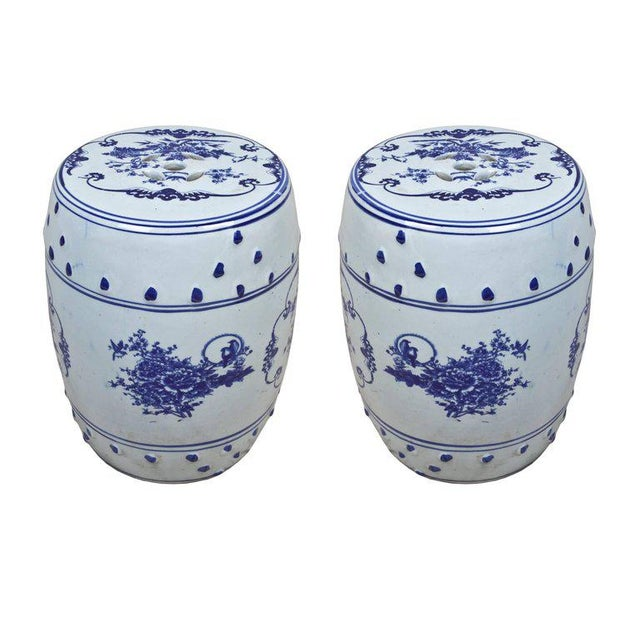 Asian Pair of Chinese Porcelain Garden Seats For Sale - Image 3 of 5