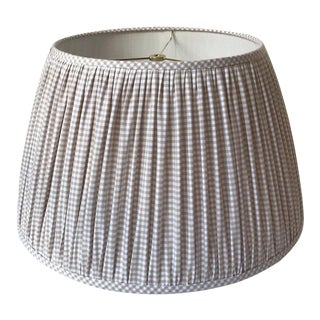 Cotton Beige Gingham, Large Gathered/Pleated Lamp Shade For Sale