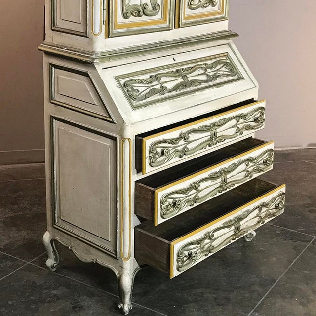 Italian Hand Painted Secretary ~ Bookcase From Torino, Italy For Sale - Image 10 of 12