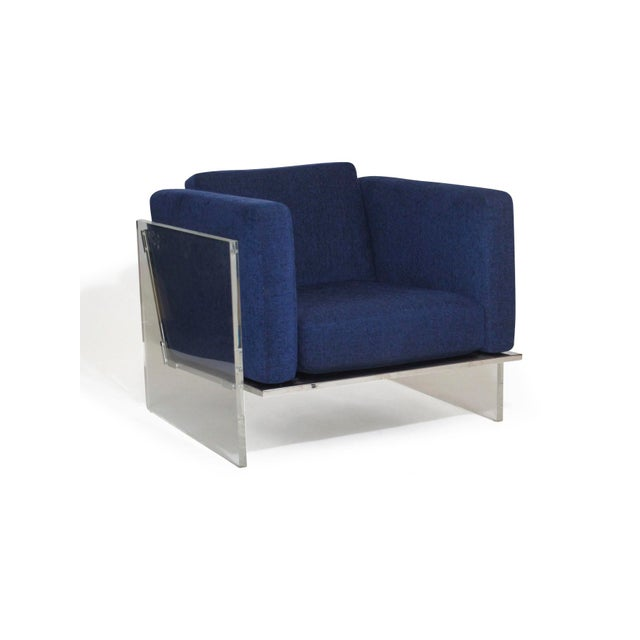 Lucite and chrome lounge chair designed by Milo Baughman for Thayer Coggin upholstered in navy blue chenille fabric....