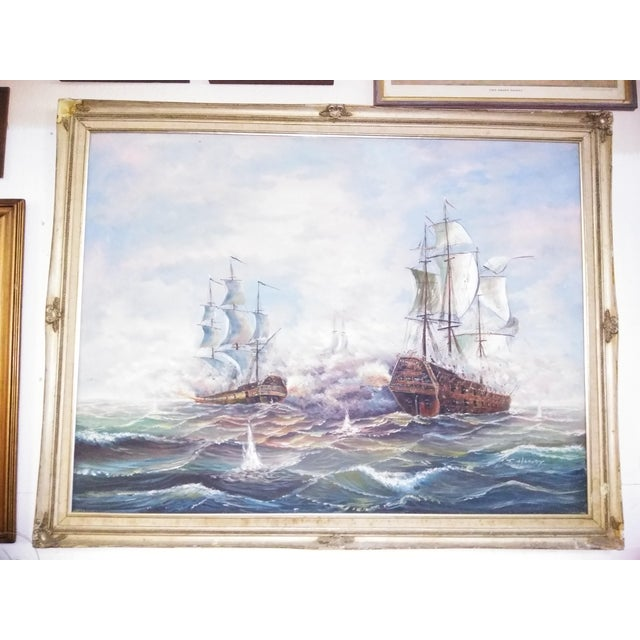 Mid 20th Century Original J Harvey Oil on Canvas Battle Scene Painting For Sale - Image 5 of 5
