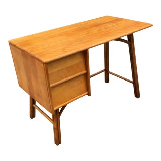 1950s Hollywood Regency Ash & Bamboo Writing Desk by Heywood Wakefield Ashcraft