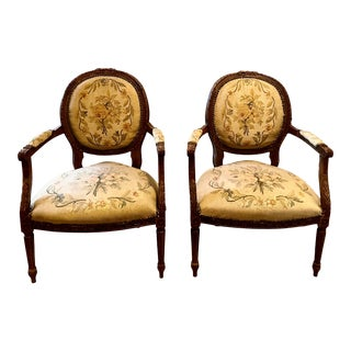 Louis XVI Style Upholstered Balloon Back Walnut Carved Fauteuil Chairs - a Pair For Sale