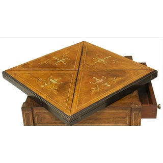 Antique English Neoclassical Rosewood Marquetry Envelope Top Game Table Preview