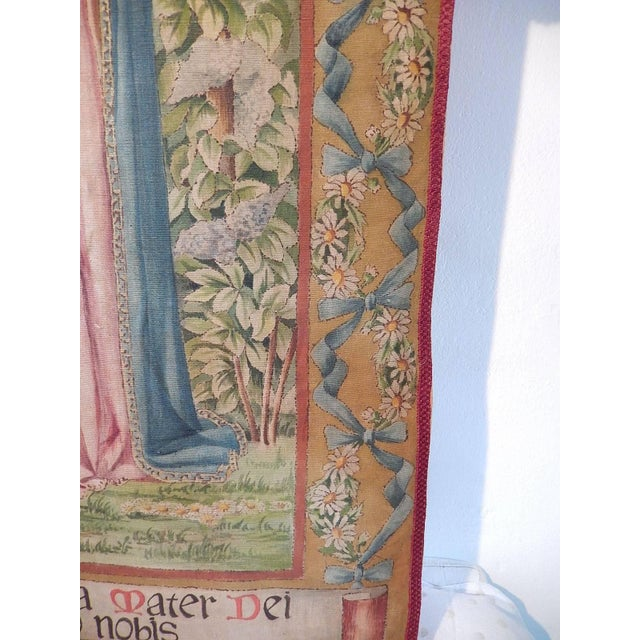 19th Century Huge Italian Religious Banner Hand-Painted For Sale In Los Angeles - Image 6 of 11