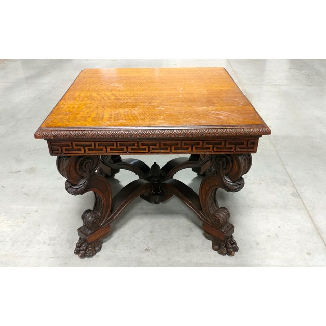 Traditional Antique Lion Foot Oak Center Table For Sale - Image 3 of 10