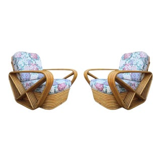 Pair of Square Pretzel Rattan Lounge Chairs Style of Paul Frankl For Sale