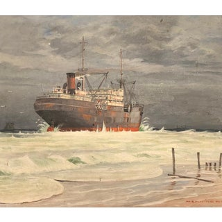 Original Scandinavian Nautical Oil Painting of an Icebreaker Ship by Henning For Sale