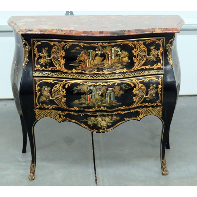 Louis XV style marble top chinoiserie 2 drawer ebonized commode.