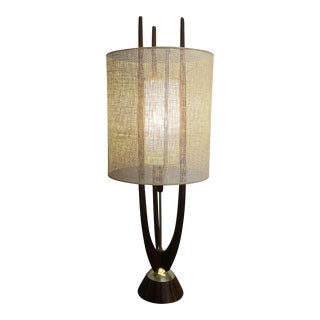 Modeline of California Mid-Century Sculptural Walnut and Brass Table Lamp