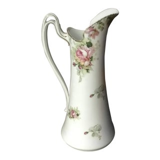 Antique Hand Painted Pink Roses on White Large Pitcher Made in Germany For Sale