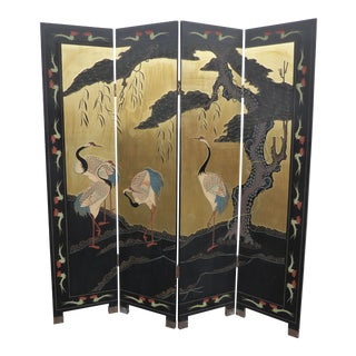 Vintage Asian Oriental Four Panel Screen W Cranes Double Sided Room Divider For Sale