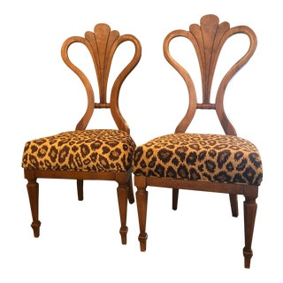 French Deco Leopard Upholstered Chairs - a Pair For Sale