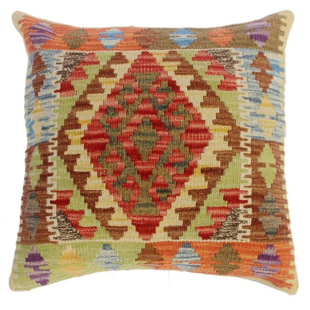 "Classie Lime Green/Brown Hand-Woven Kilim Throw Pillow(18""x18"") For Sale In New York - Image 6 of 6"