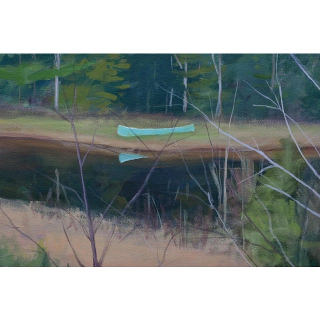 "Stephen Remick Large ""Canoe, Pond, and Mountains in Vermont"" Painting by Stephen Remick For Sale - Image 4 of 13"