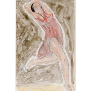 Modernist Watercolored Drawing of Dancer Isadora Duncan, by Abraham Walkowitz For Sale