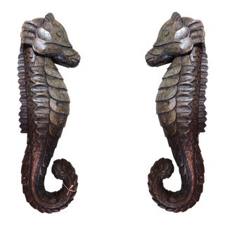 Pair of Carved Wooden Sea Horses For Sale