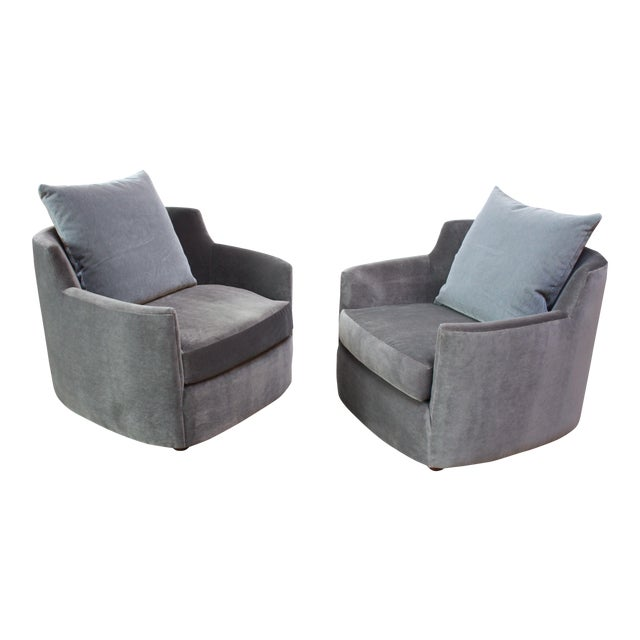 Mid-Century American Modern Tub Chairs in Mohair and Velvet For Sale