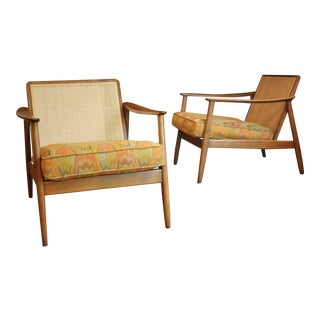 Restored Folke Ohlsson for Dux Cane-Back Lounge Chairs- A Pair For Sale