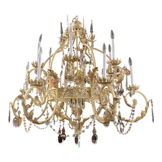 Vintage Hollywood Regency Gold and Silver 11 Arm Crystal Chandelier For Sale
