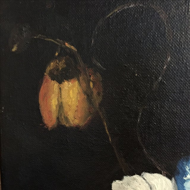 Vintage Floral Still Life Oil Painting - Image 6 of 10
