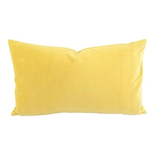 """Solid Yellow Velvet Lumbar Pillow Cover - 12"""" X 20"""" For Sale"""